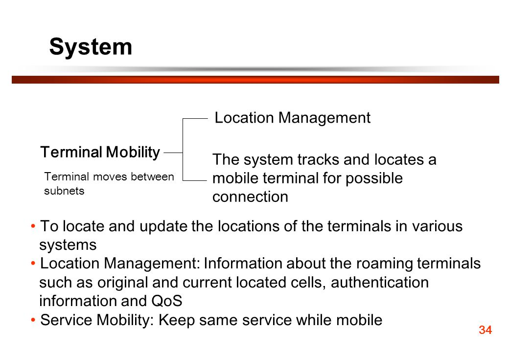 System Terminal Mobility The system tracks and locates a