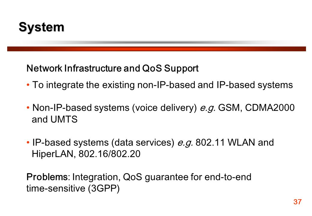 System Network Infrastructure and QoS Support