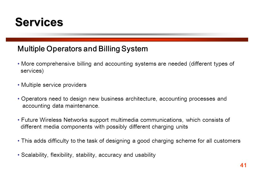Services Multiple Operators and Billing System