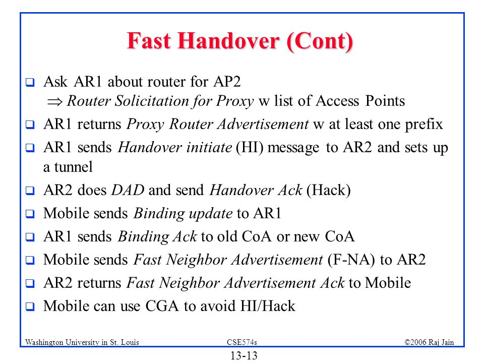 Fast Handover (Cont) Ask AR1 about router for AP2  Router Solicitation for Proxy w list of Access Points.