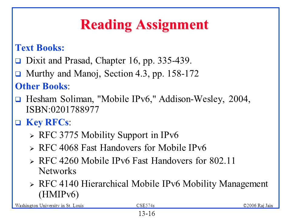 Reading Assignment Text Books: