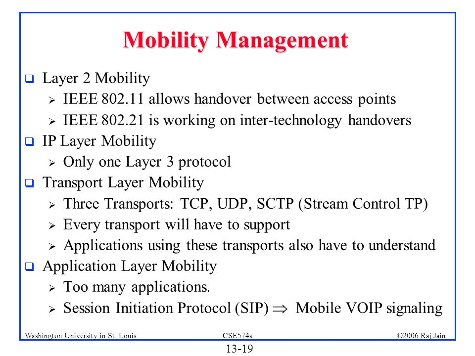 Mobility Management Layer 2 Mobility