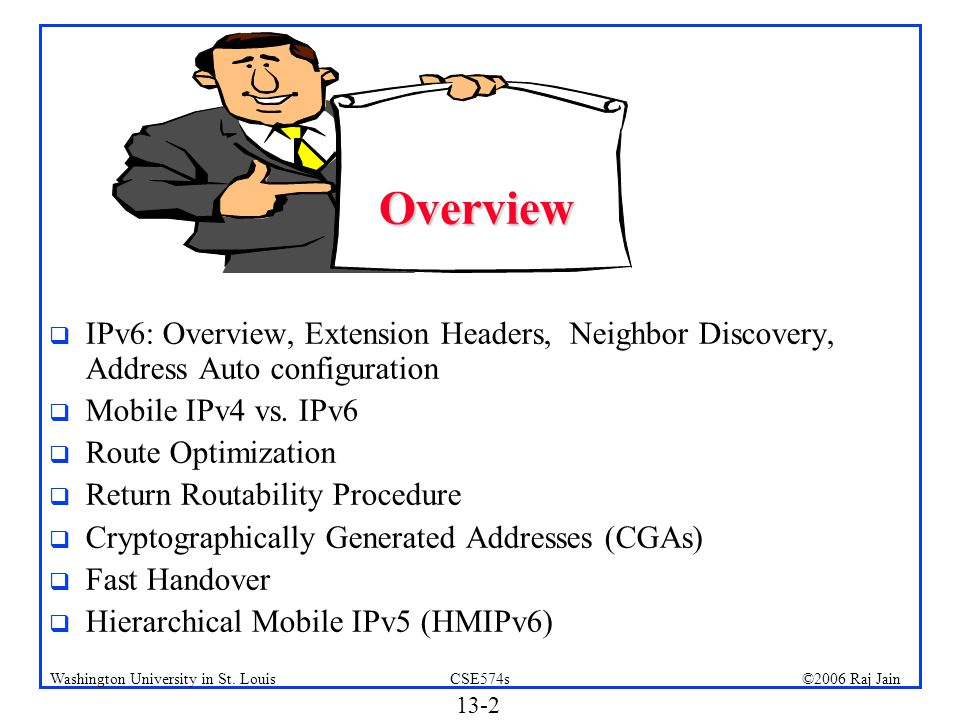 Overview IPv6: Overview, Extension Headers, Neighbor Discovery, Address Auto configuration. Mobile IPv4 vs. IPv6.