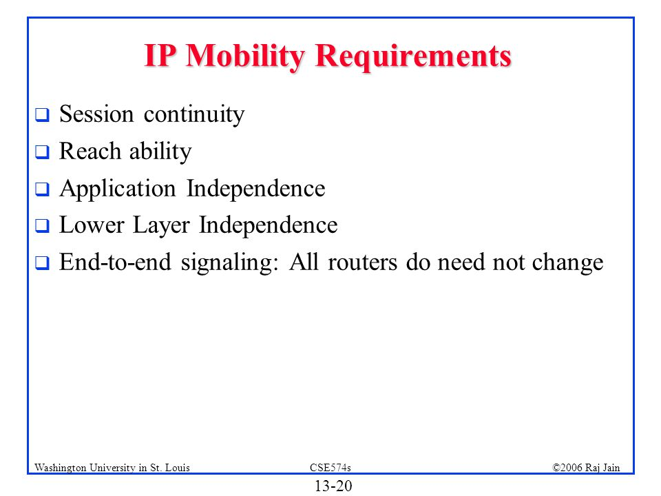 IP Mobility Requirements