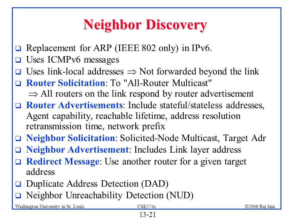Neighbor Discovery Replacement for ARP (IEEE 802 only) in IPv6.