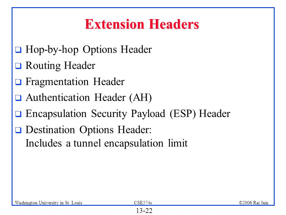 Extension Headers Hop-by-hop Options Header Routing Header
