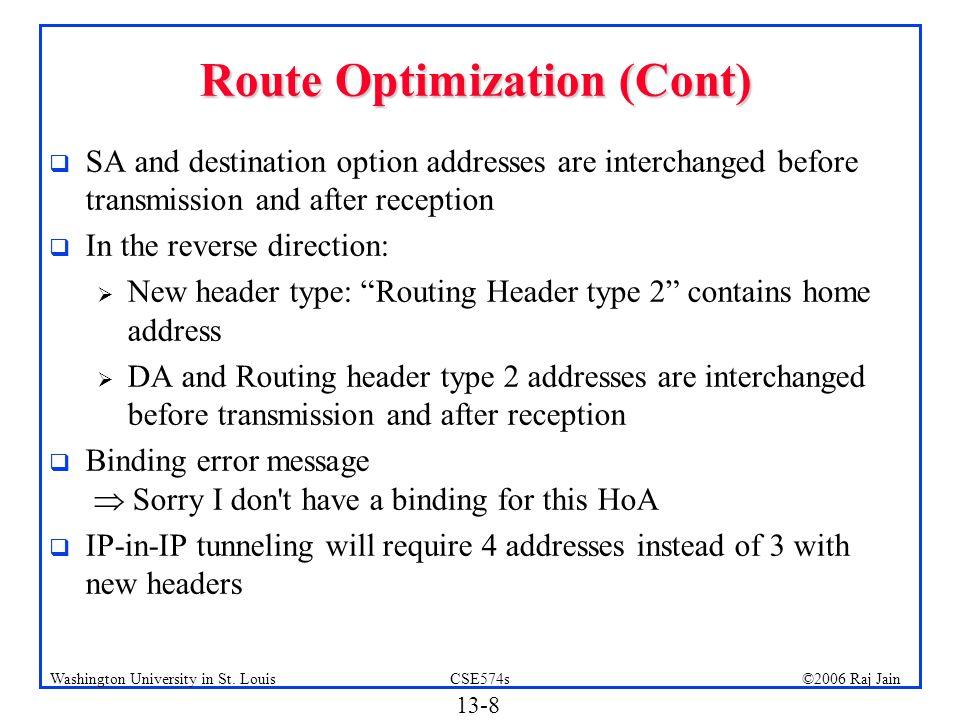 Route Optimization (Cont)