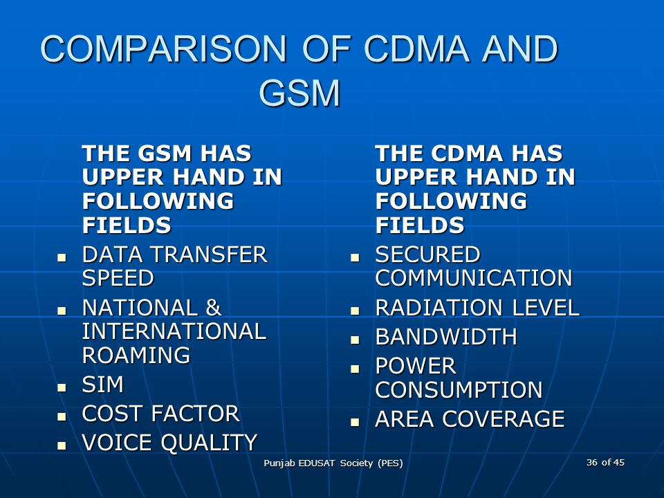 COMPARISON OF CDMA AND GSM