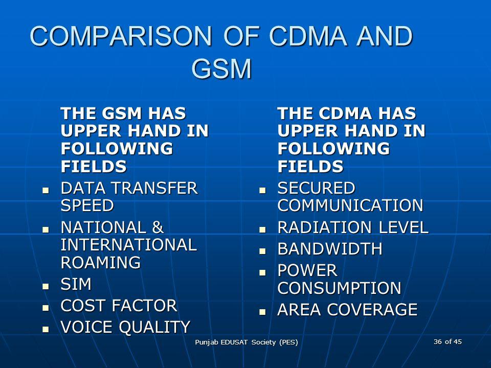 COMPARISON OF CDMA AND GSM