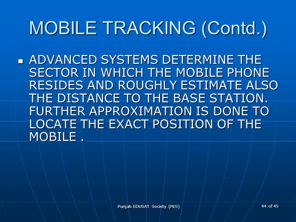 MOBILE TRACKING (Contd.)