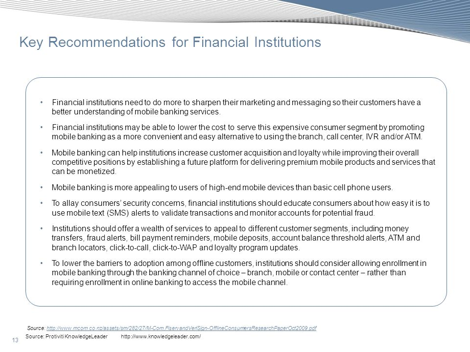 Key Recommendations for Financial Institutions