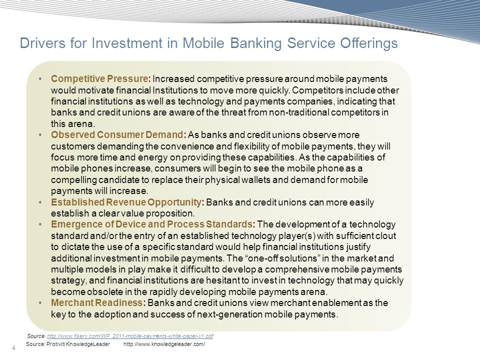 Drivers for Investment in Mobile Banking Service Offerings