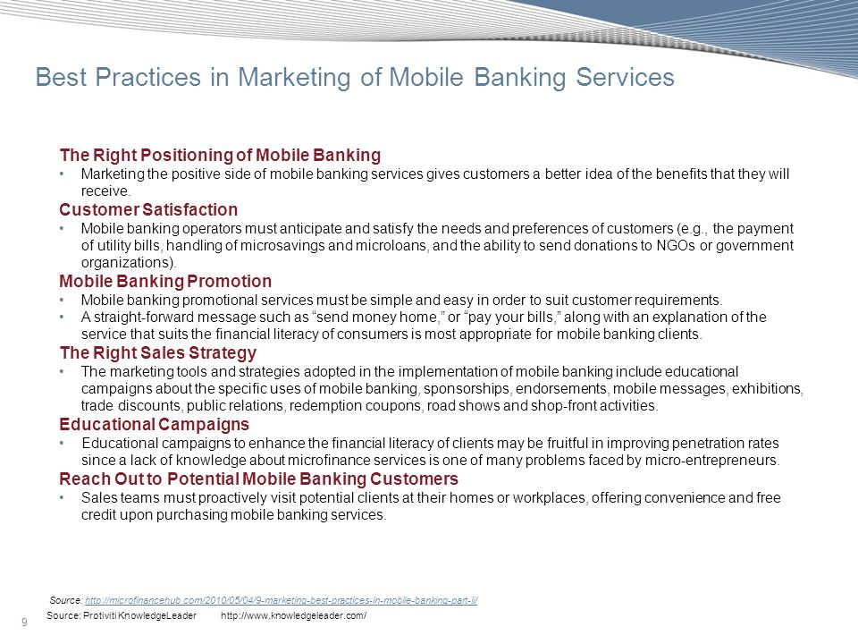 Best Practices in Marketing of Mobile Banking Services