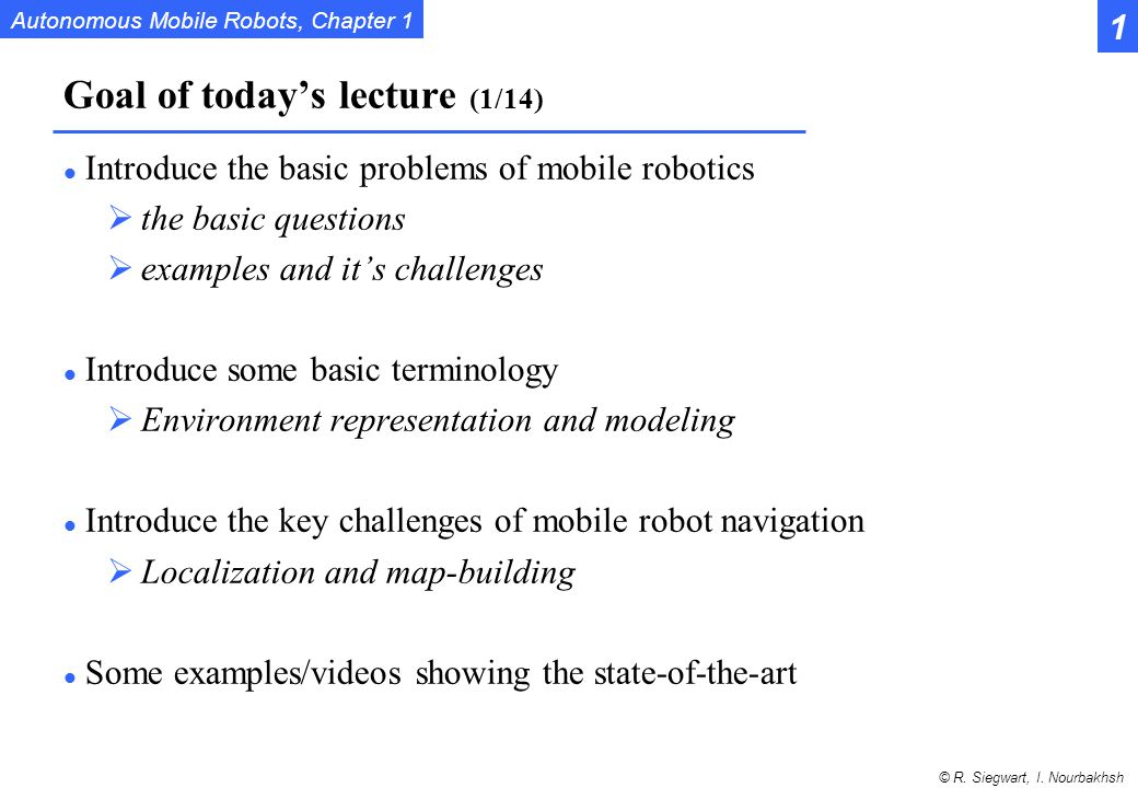 Goal of today's lecture (1/14)