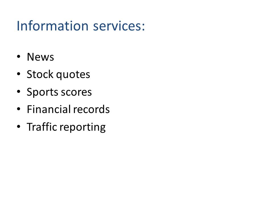 Information services: