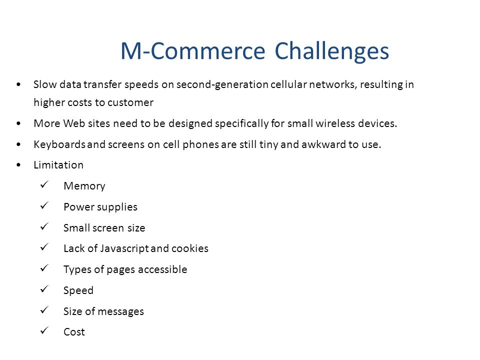 M-Commerce Challenges