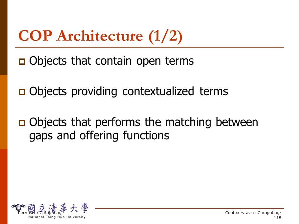 COP Architecture (2/2) Registry register function 1