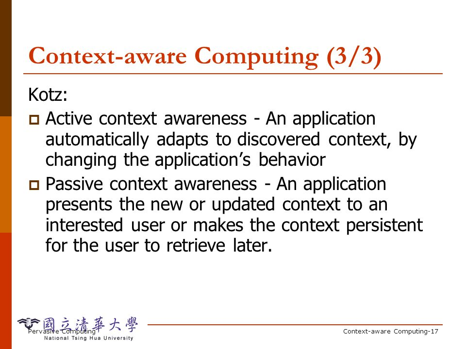 Context-Aware and Pervasive