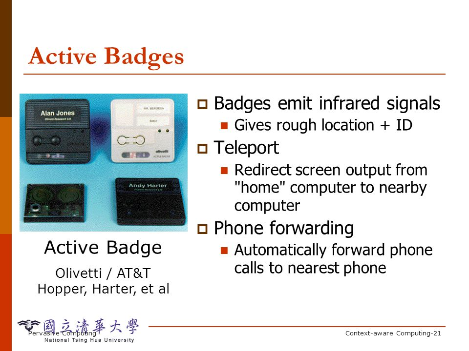 Active Badges (cont'd)