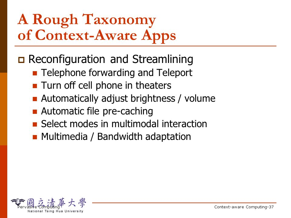 A Rough Taxonomy of Context-Aware Apps