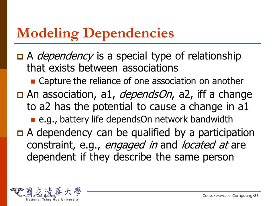 Dependencies in the Example