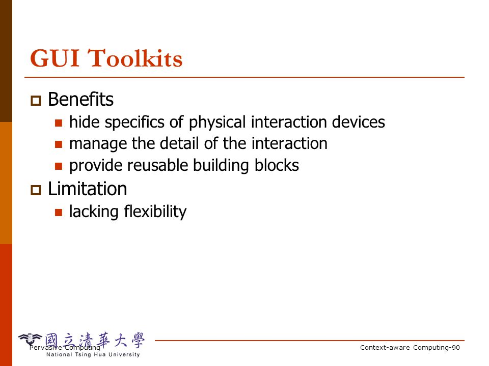 Context Toolkit Toolkit for distributed context-aware apps