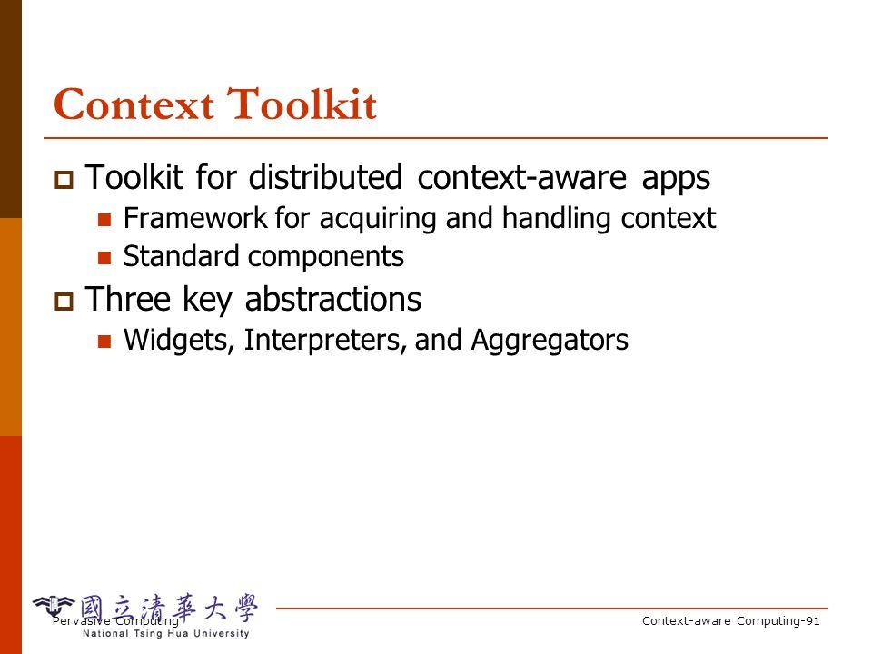 Context Widgets Widgets abstract out sensors App App Location Widget