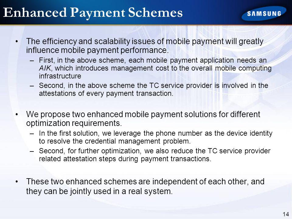 Enhanced Payment Schemes