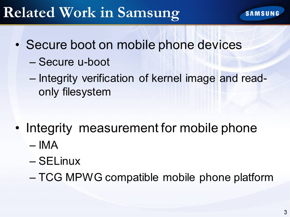 Related Work in Samsung