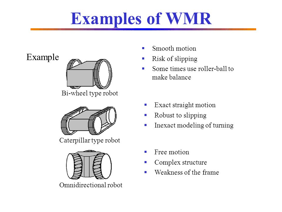 Examples of WMR Example Smooth motion Risk of slipping
