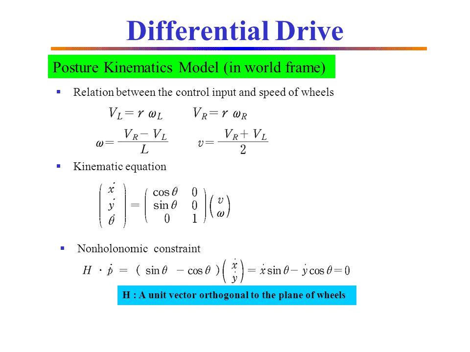 Differential Drive Posture Kinematics Model (in world frame)