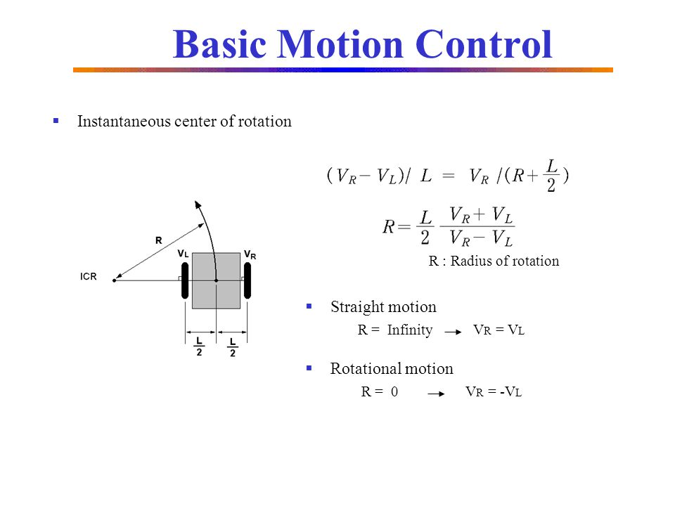 Basic Motion Control Instantaneous center of rotation Straight motion