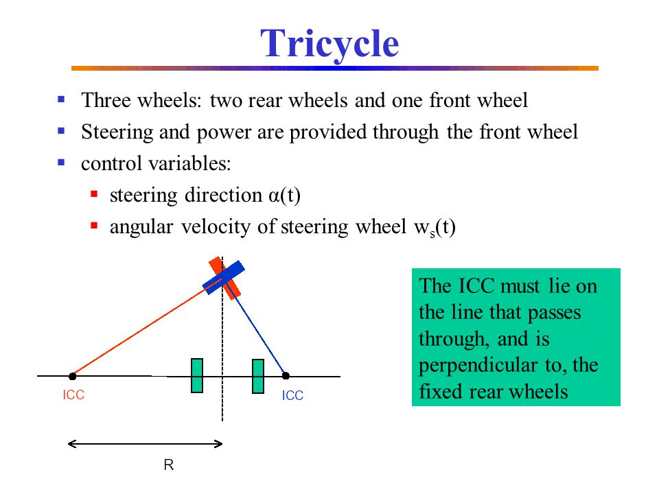 Tricycle Three wheels: two rear wheels and one front wheel