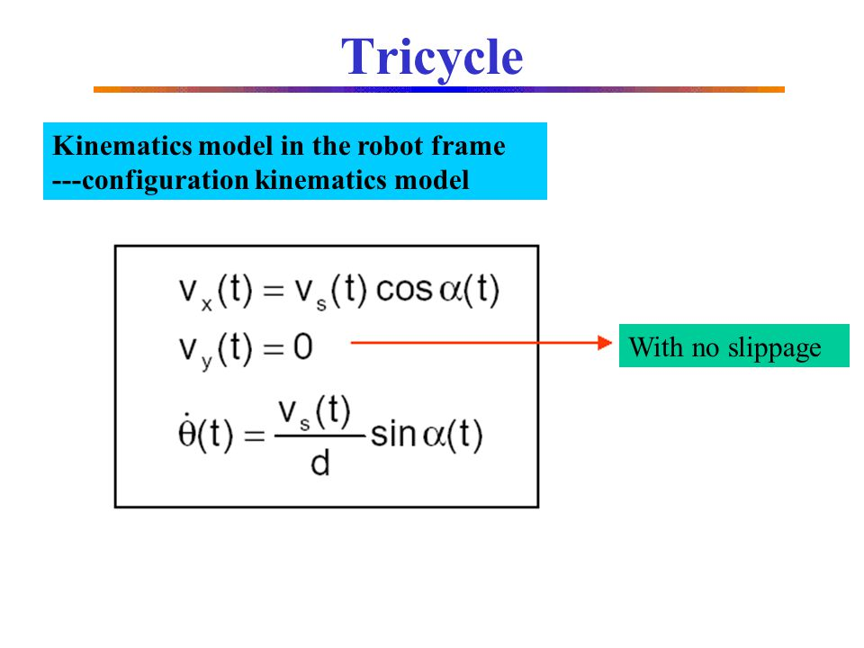 Tricycle Kinematics model in the robot frame
