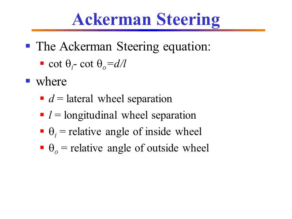 Ackerman Steering The Ackerman Steering equation: where
