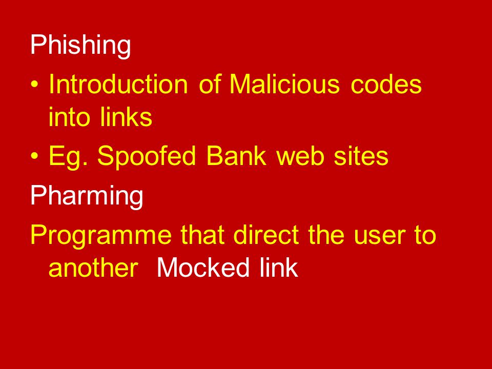 Phishing Introduction of Malicious codes into links.