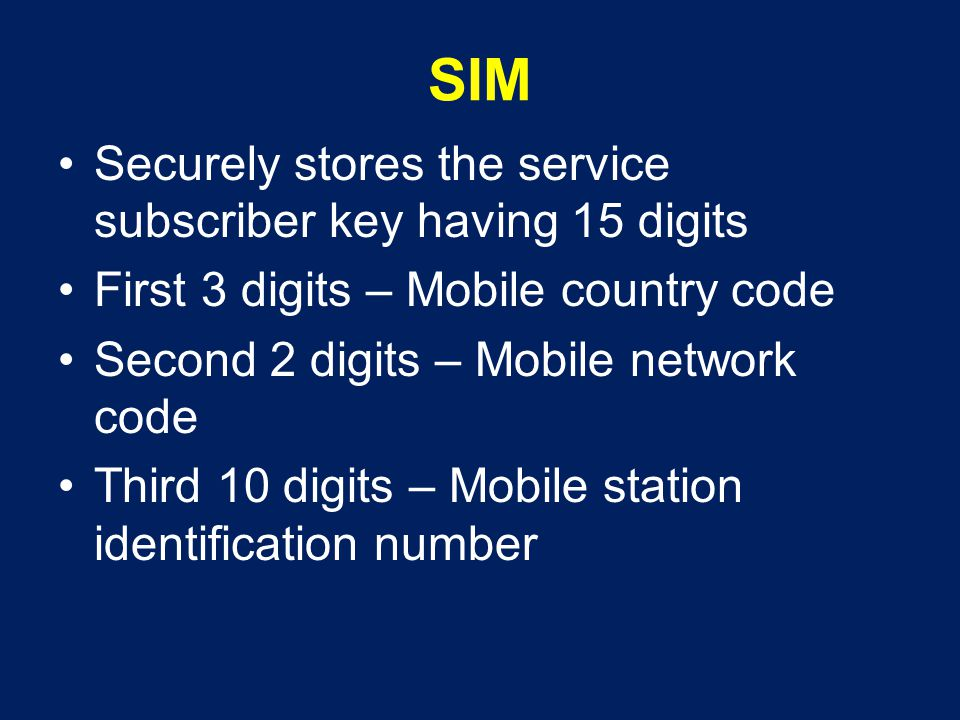 SIM Securely stores the service subscriber key having 15 digits