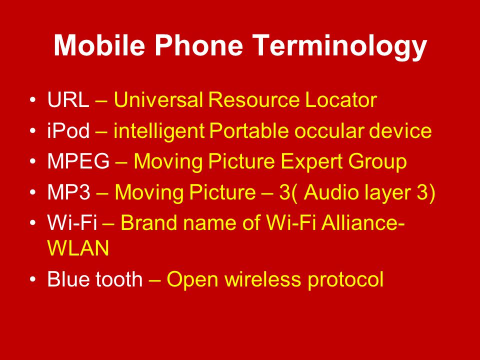 Mobile Phone Terminology