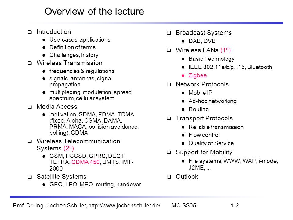Overview of the lecture