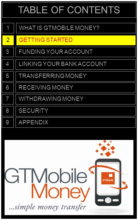 TABLE OF CONTENTS 1 WHAT IS GTMOBILE MONEY 2 GETTING STARTED 3