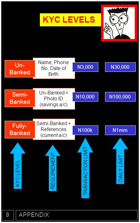 KYC LEVELS Un- Banked Semi- Banked Fully- Banked 9 APPENDIX