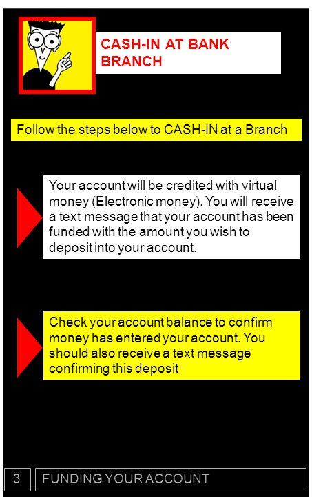 CASH-IN AT BANK BRANCH Follow the steps below to CASH-IN at a Branch