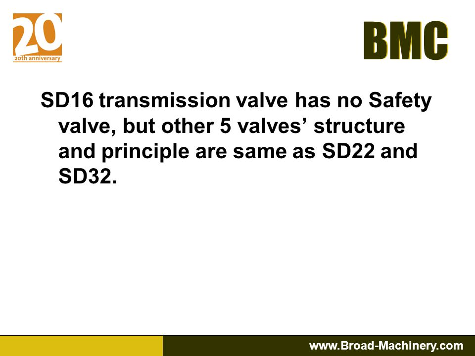 SD16 transmission valve has no Safety valve, but other 5 valves' structure and principle are same as SD22 and SD32.