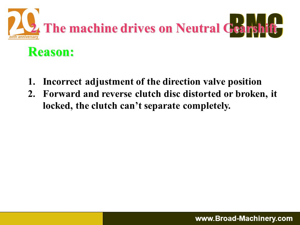 2. The machine drives on Neutral Gearshift
