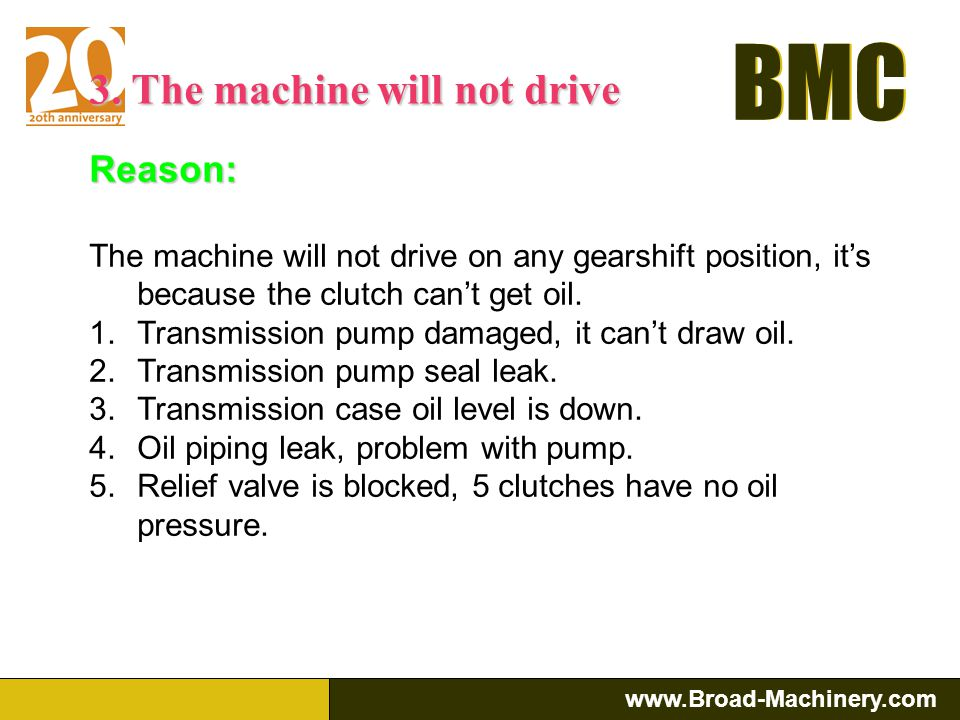 3. The machine will not drive