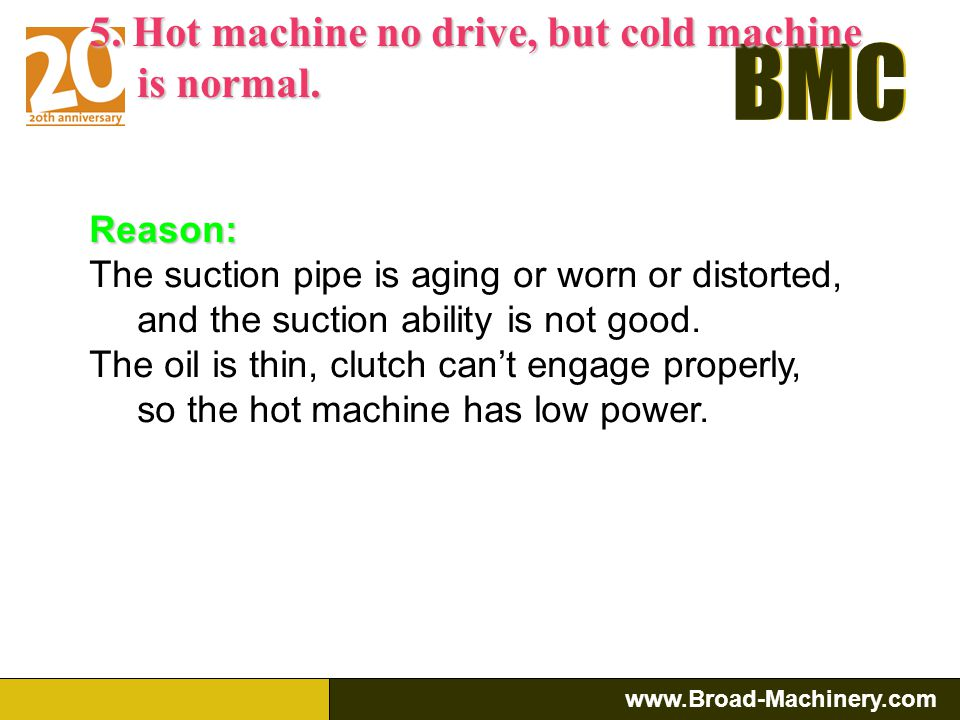 5. Hot machine no drive, but cold machine is normal.