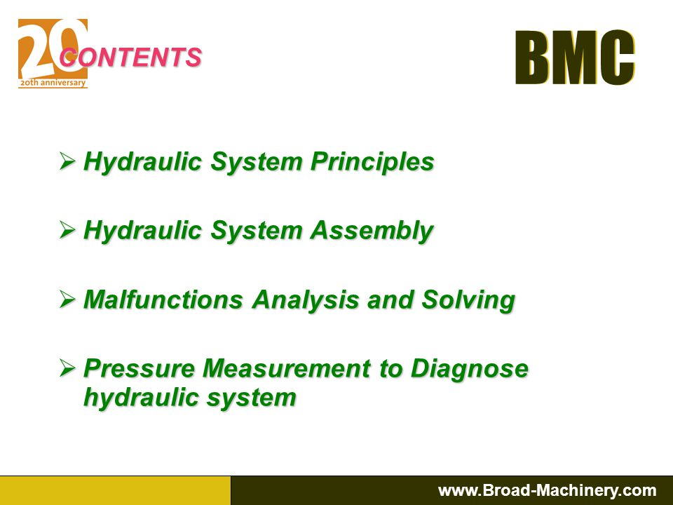 CONTENTS Hydraulic System Principles. Hydraulic System Assembly. Malfunctions Analysis and Solving.