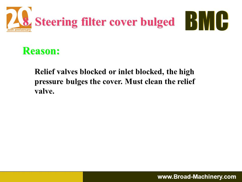 8. Steering filter cover bulged