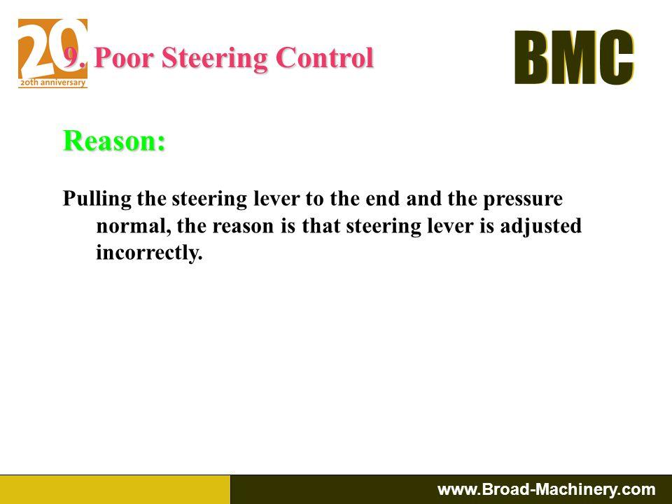 9. Poor Steering Control Reason: