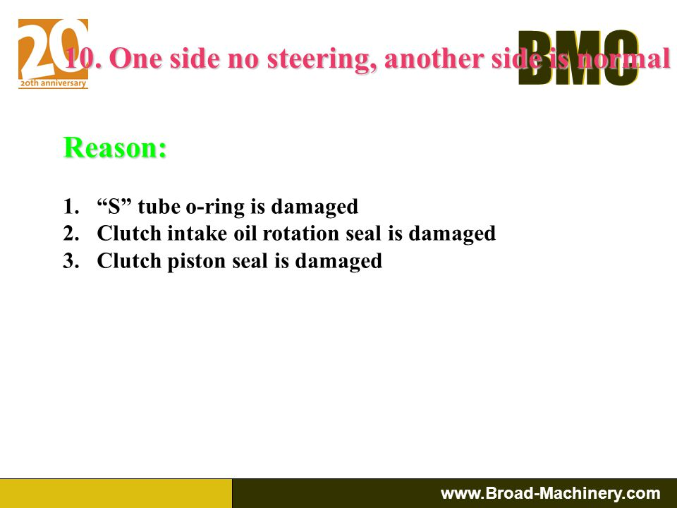10. One side no steering, another side is normal